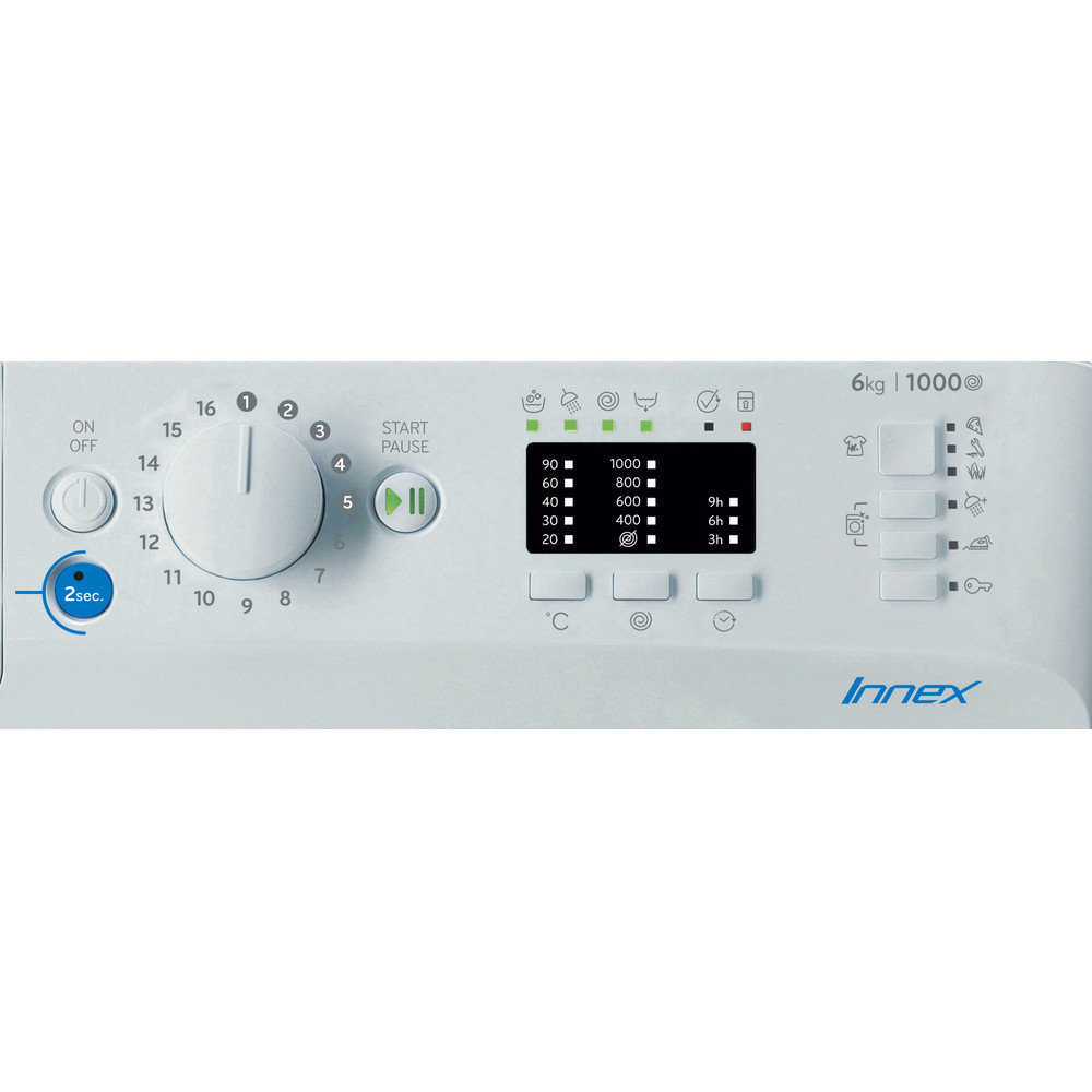 Indesit Veļas mazgājamā mašīna Brīvi stāvošs BWSA 61051 W EU N Balts Priekšējās ielādes F Control panel