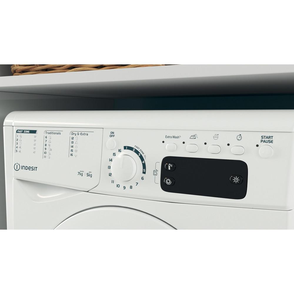Indesit Tvättmaskin med torktumlare Fristående EWDE 751451 W EU N White Front loader Lifestyle control panel