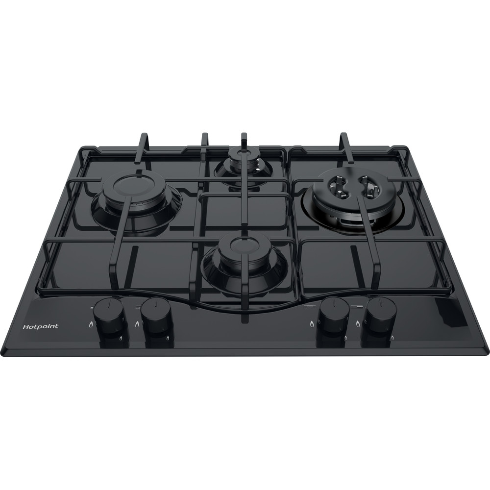 Hotpoint HOB PCN 642 T/H(BK) Black GAS Frontal_Top_Down