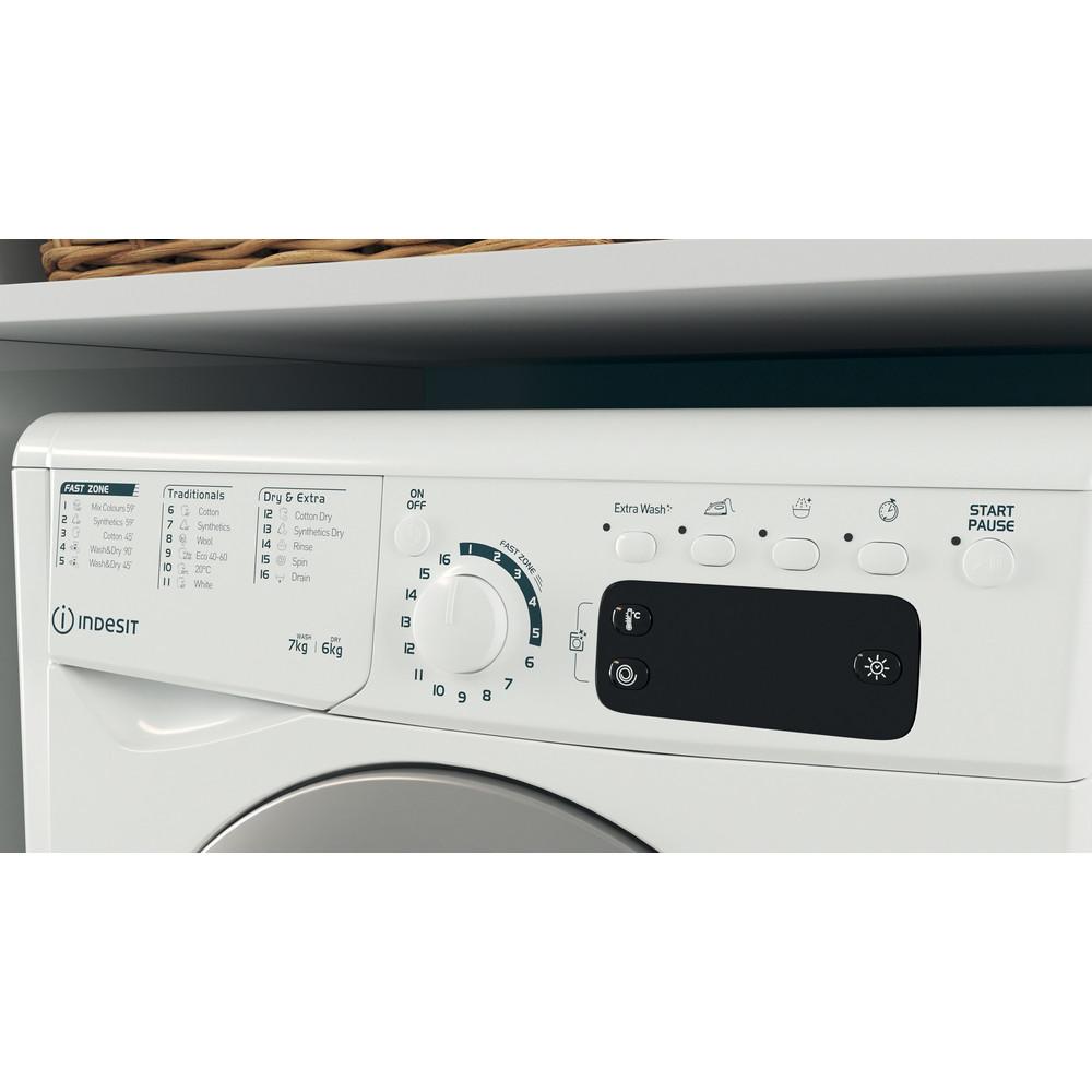 Indesit Mašina za pranje i sušenje veša Samostojeći EWDE 761483 WS EE N Bijela Front loader Lifestyle control panel