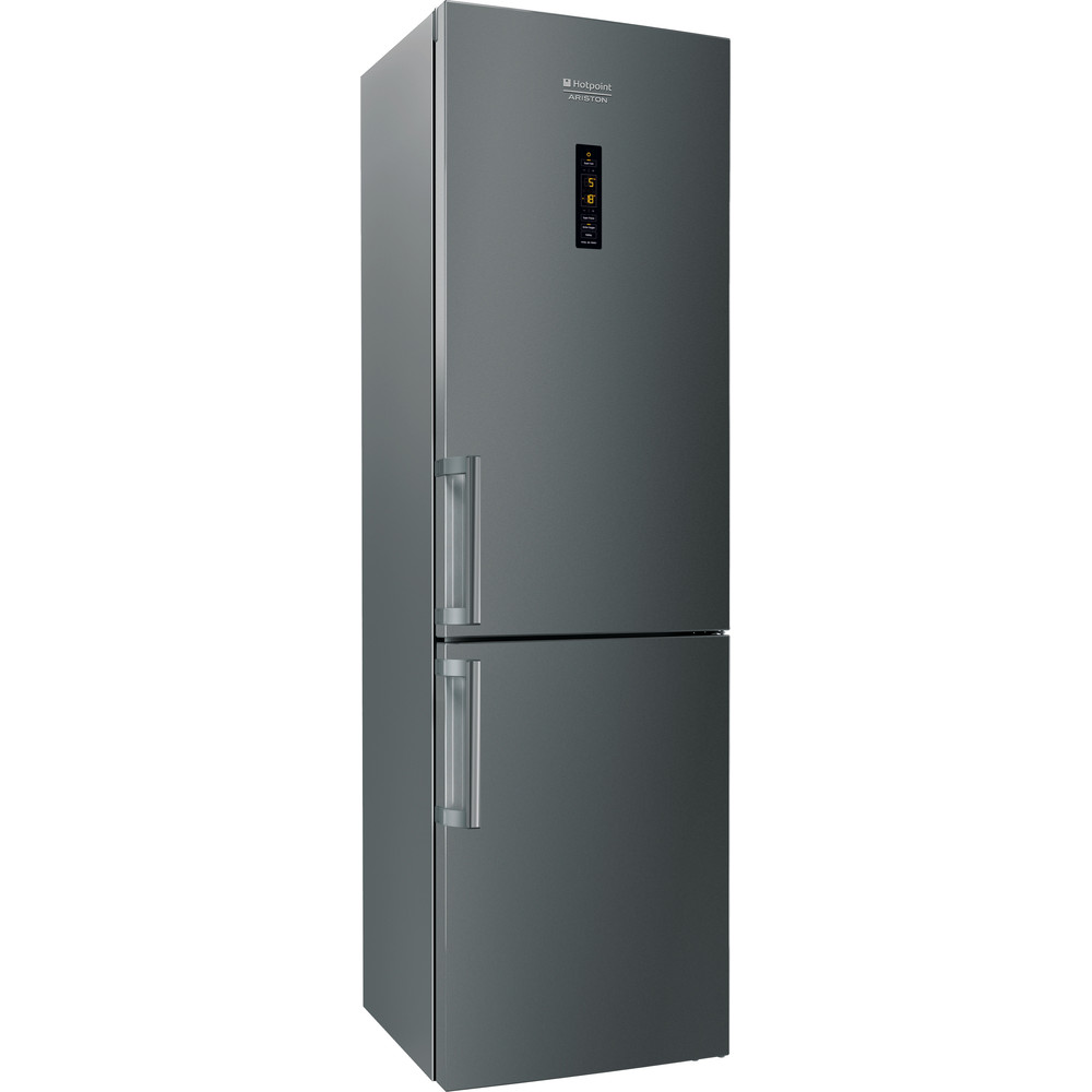Hotpoint_Ariston Комбиниран хладилник с фризер Свободностоящ XH9 T2Z COJZH Сребристо черно 2 врати Perspective