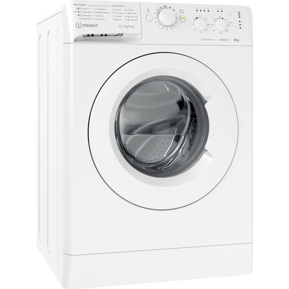 Indesit Washing machine Free-standing MTWC 91283 W UK White Front loader A+++ Perspective