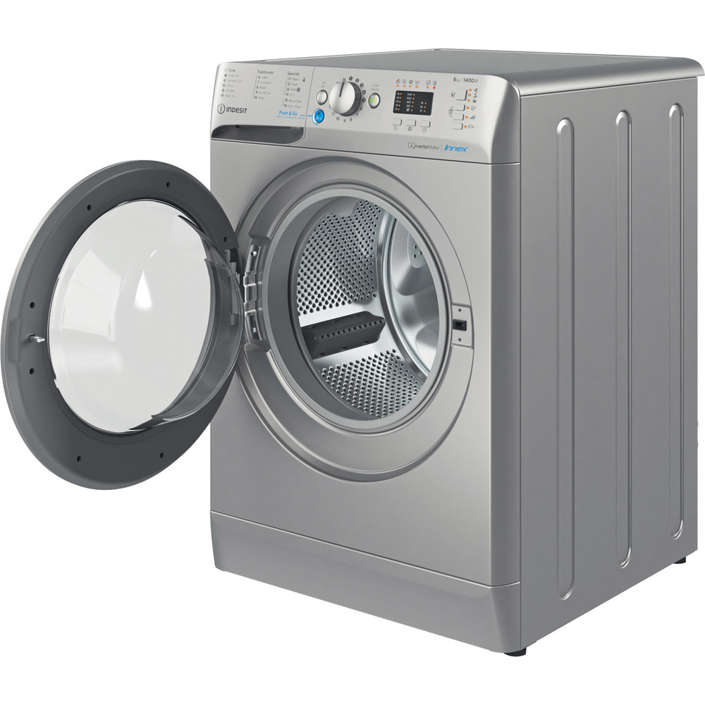 Indesit Washing machine Free-standing BWA 81483X S UK N Silver Front loader D Perspective open