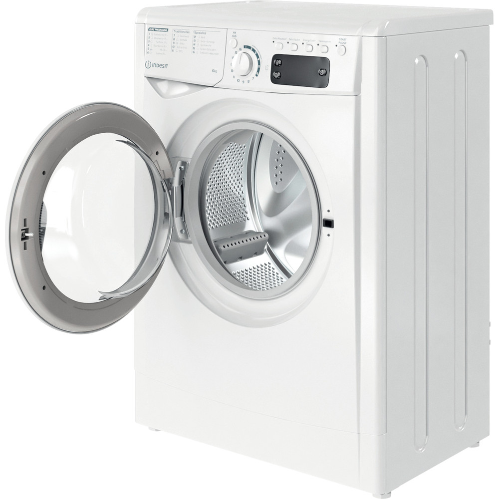 Indesit Waschmaschine Freistehend EWSE 61251 W DE N Weiß Frontlader F Perspective open
