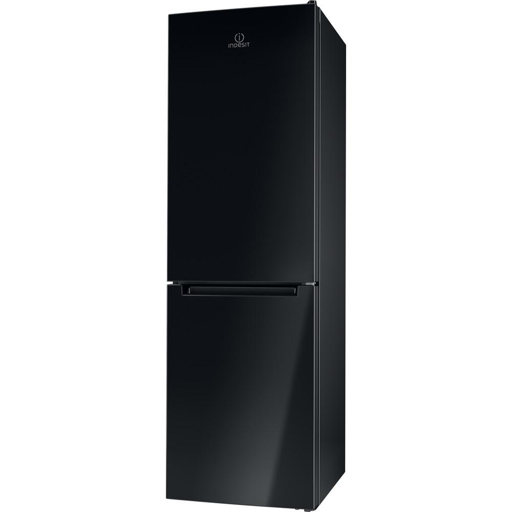 Indesit Комбиниран хладилник с камера Свободностоящи LI8 FF2 K Черен 2 врати Perspective