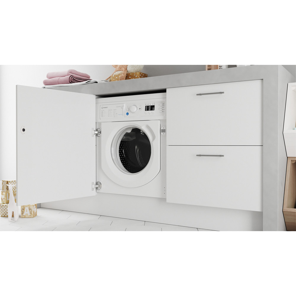 Indesit Washing machine Built-in BI WMIL 91484 UK White Front loader C Lifestyle perspective