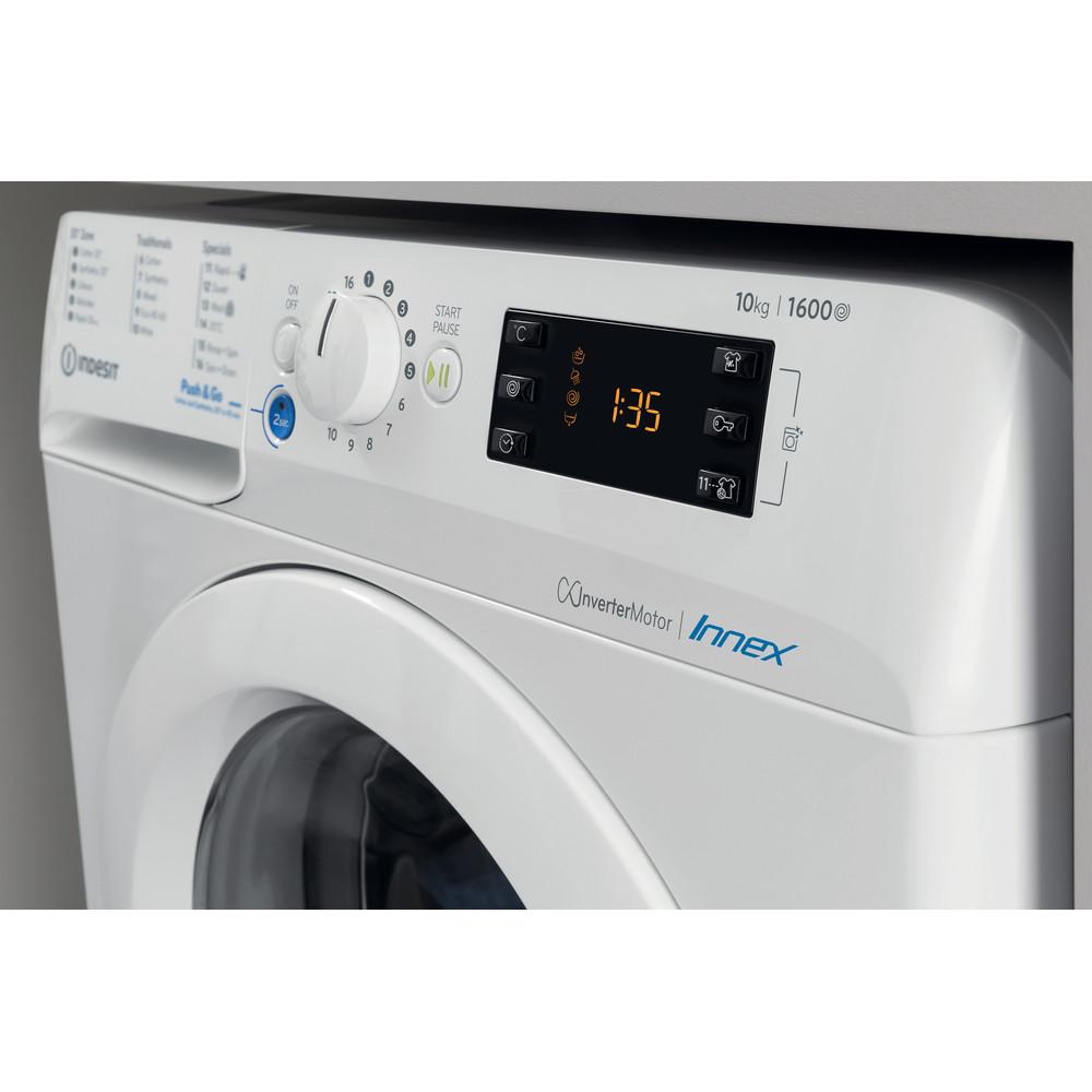 Indesit Washing machine Free-standing BWE 101683X W UK N White Front loader A+++ Lifestyle control panel