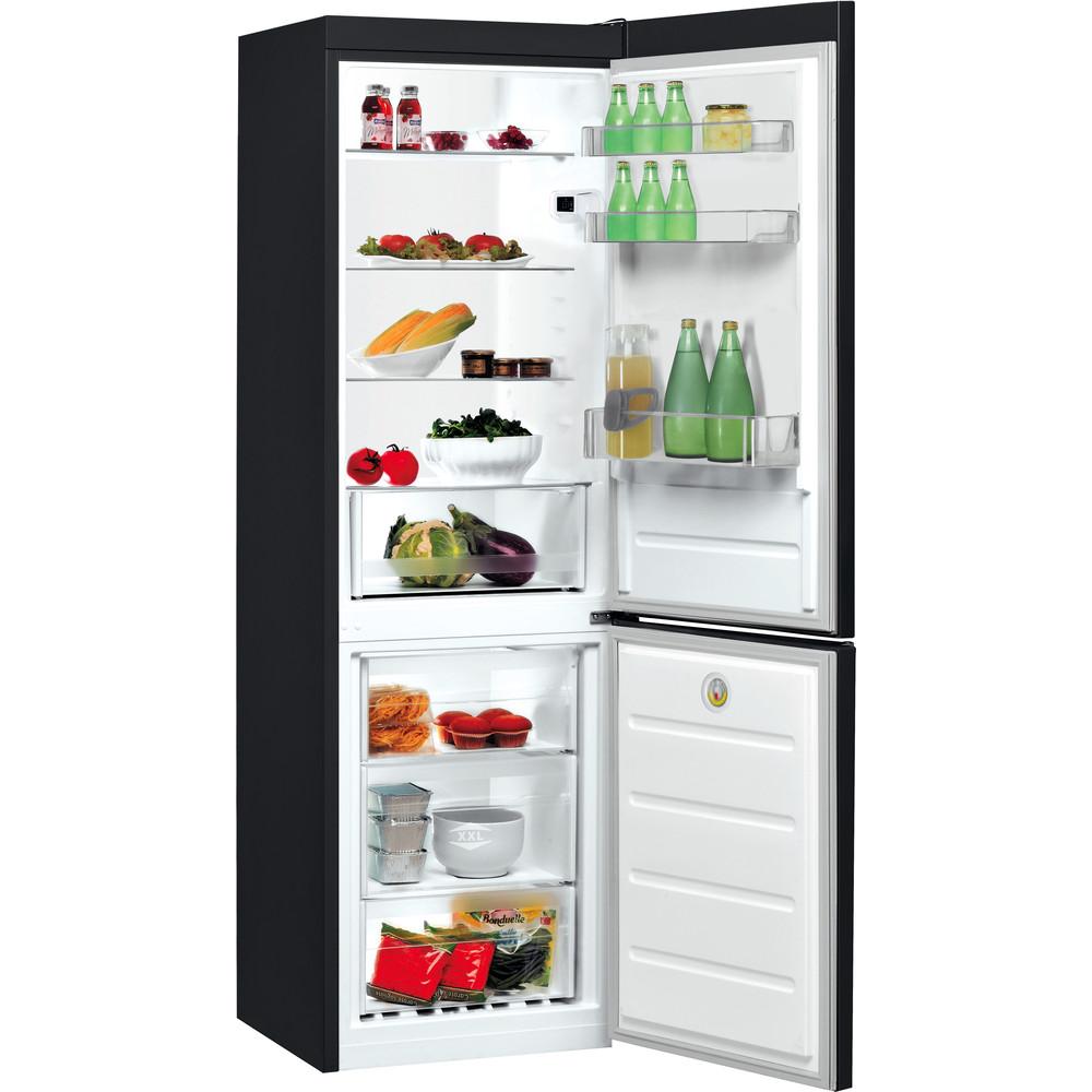Indesit Hűtő/fagyasztó kombináció Szabadonálló LI8 S2E K Fekete 2 doors Perspective open