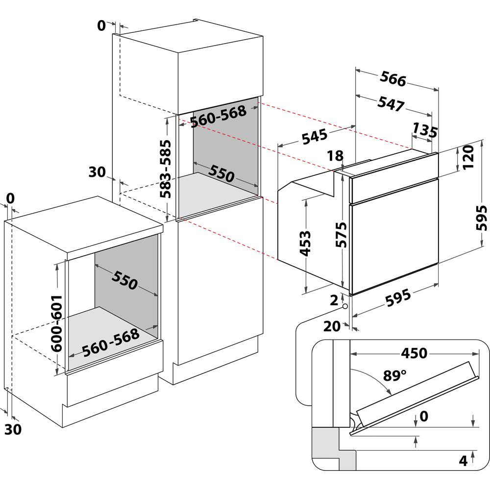 Indesit Духовой шкаф Встраиваемый IFVR 801 H OW Электрическая A Technical drawing