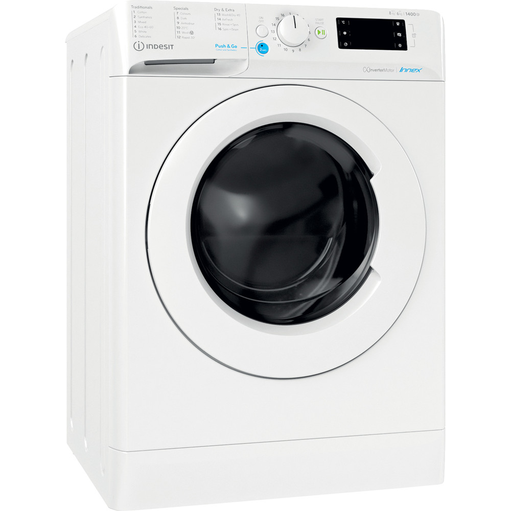 Indesit Washer dryer Free-standing BDE 861483X W UK N White Front loader Perspective