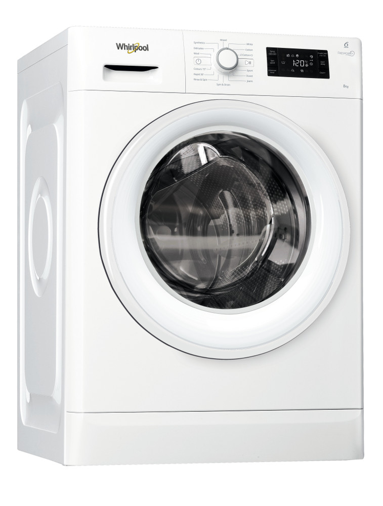 Whirlpool Washing machine Free-standing FWG81496W UK White Front loader A+++ Perspective