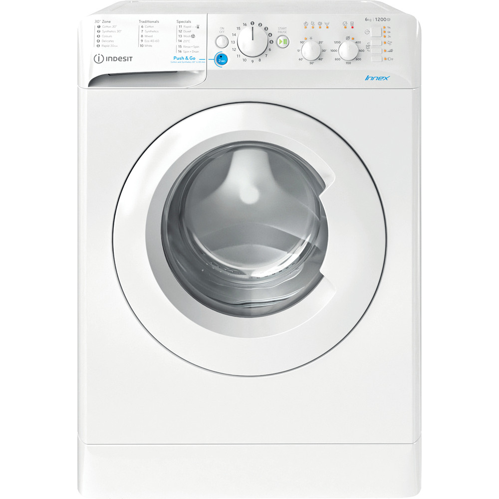 Indesit Washing machine Free-standing BWSC 61251 XW UK N White Front loader F Frontal