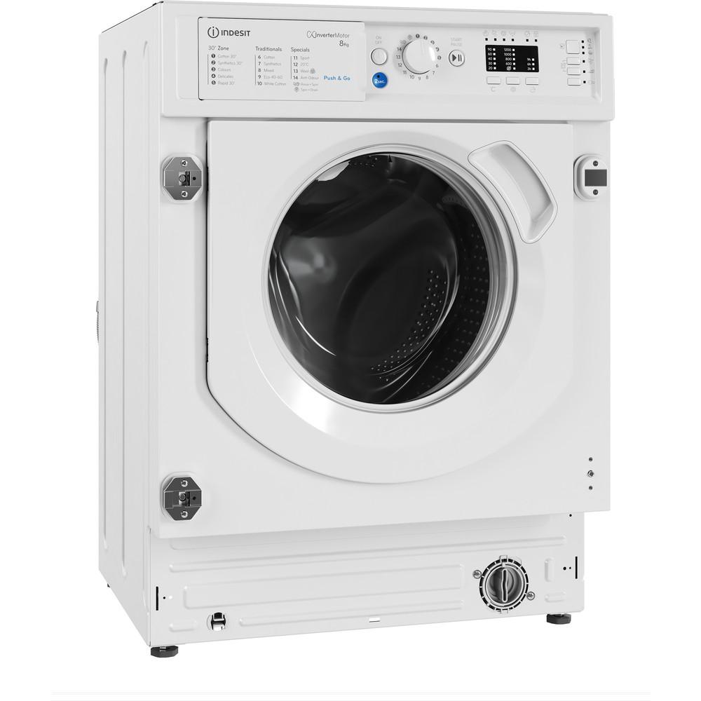 Indesit Washing machine Built-in BI WMIL 81284 UK White Front loader C Perspective
