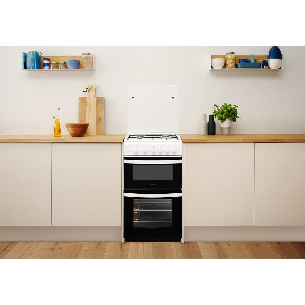 Indesit Double Cooker ID5G00KMW/UK /L White A+ Enamelled Sheetmetal Lifestyle frontal