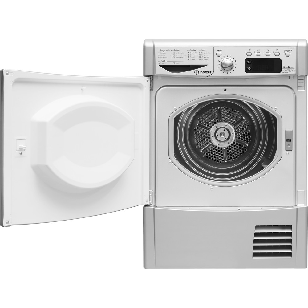 Indesit Dryer IDCE 8450 BS H (UK) Silver Frontal open