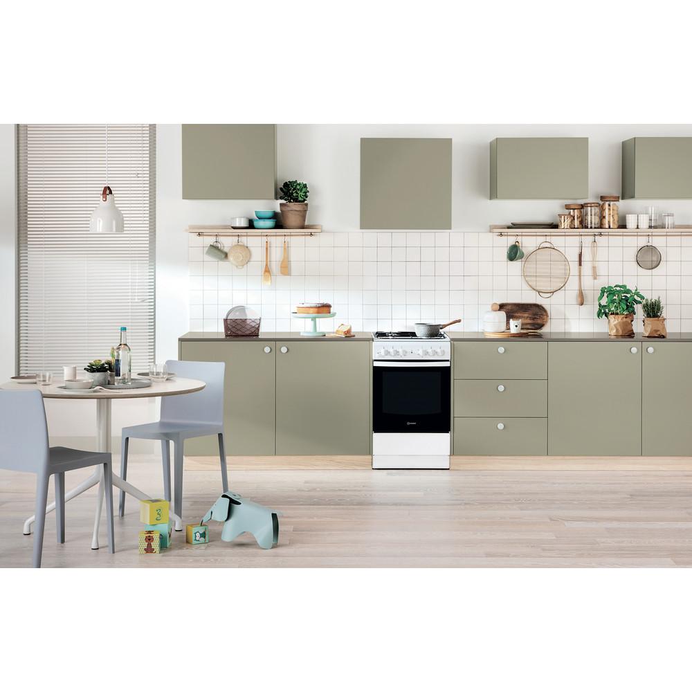 Indesit Cucina con forno a doppia cavità IS5G4KHW/EU Bianco GAS Lifestyle frontal