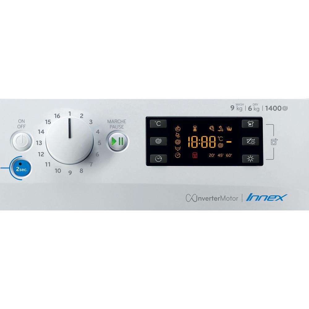 Indesit Lavante-séchante Pose-libre BDE961483XWKFR N Blanc Lave-linge frontal Control panel