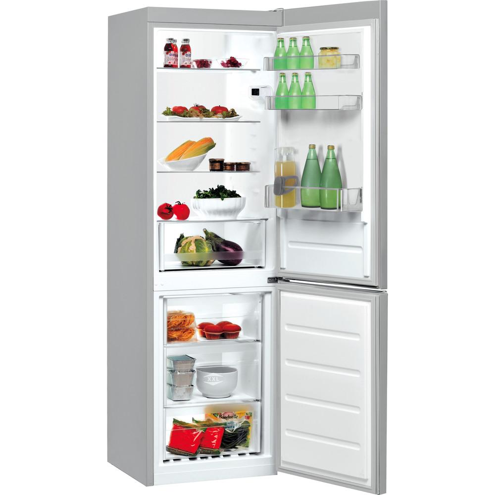 Indesit Fridge-Freezer Combination Free-standing LI8 S1E S UK Silver 2 doors Perspective open