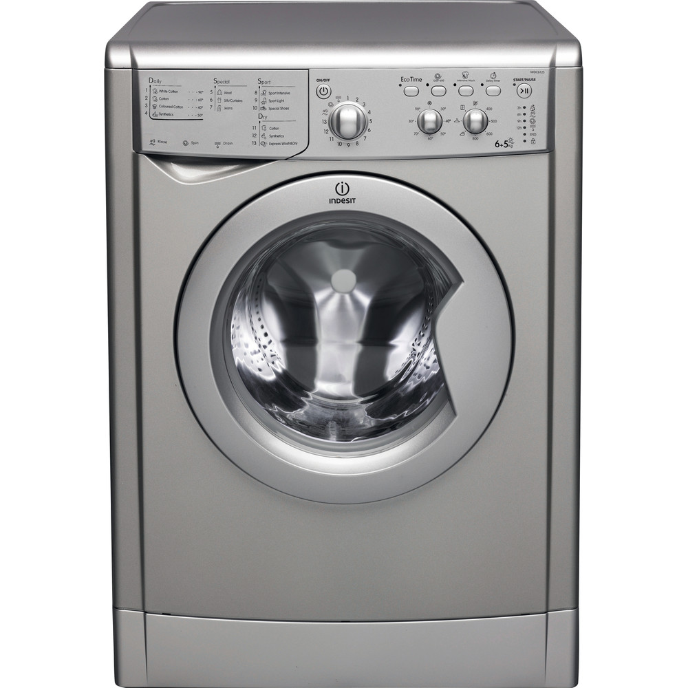 Indesit Washer dryer Free-standing IWDC 6125 S (UK) Silver Front loader Frontal