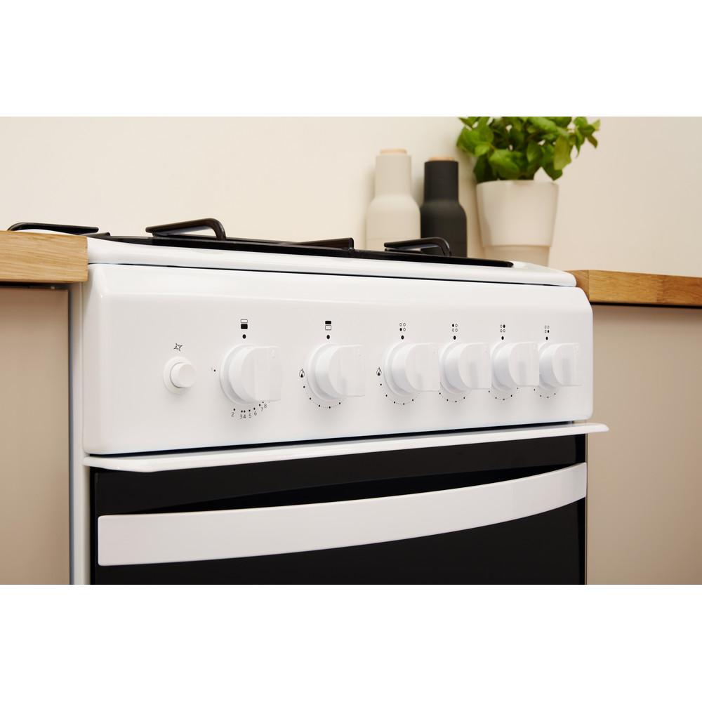 Indesit Double Cooker ID5G00KMW/UK White A+ Enamelled Sheetmetal Lifestyle control panel