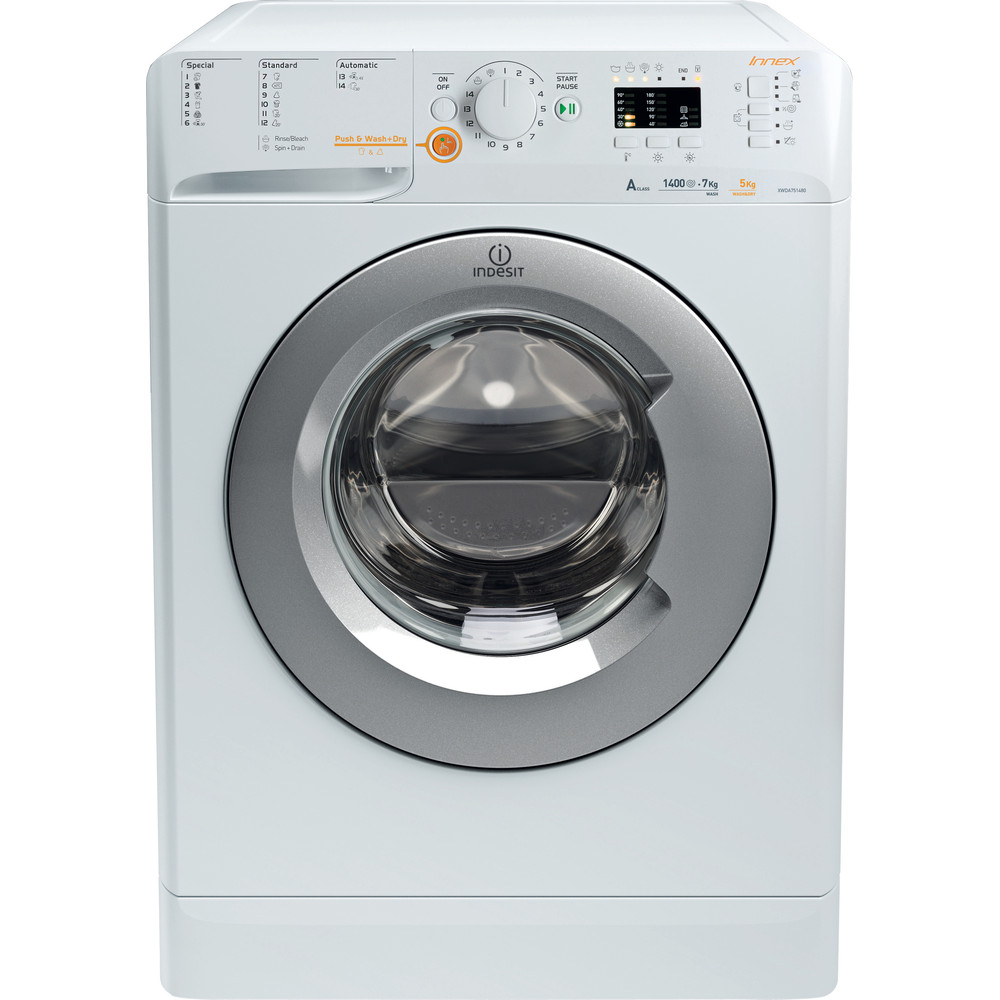 Indesit Pračka se sušičkou Volně stojící XWDA 751480X WSSS EU Bílá Front loader Frontal