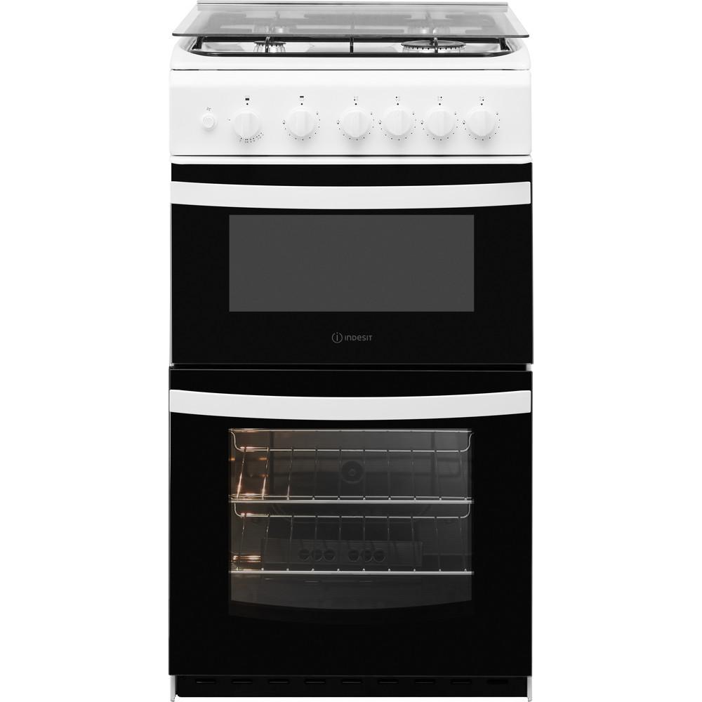 Indesit Double Cooker ID5G00KMW/UK /L White A+ Enamelled Sheetmetal Frontal