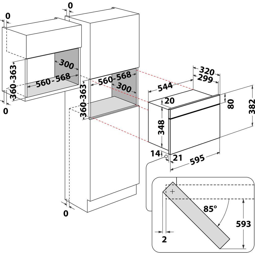 Indesit Microondas Encastre MWI 6213 IX Inox Electrónico 22 MW + Función Grill 750 Technical drawing