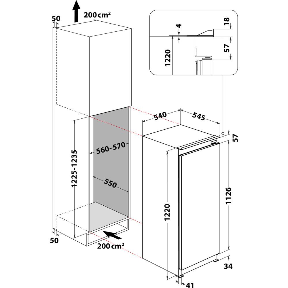 Indesit Frigorifero Da incasso SZ 12 A2D/I Inox Technical drawing