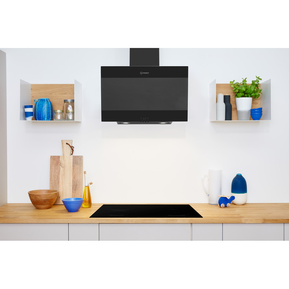 Indesit HOOD Built-in IHVP 6.6 LM K Black Wall-mounted Mechanical Lifestyle frontal
