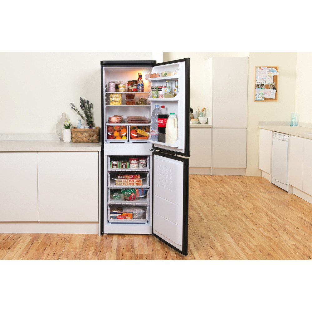 Indesit Fridge-Freezer Combination Free-standing IBD 5517 B UK 1 Black 2 doors Lifestyle frontal open
