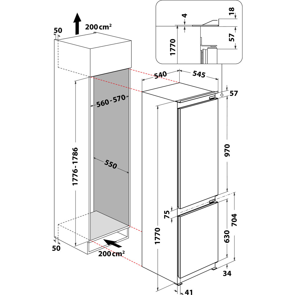 Indesit Frigorifero combinato ugradbeni B 18 A1 D/I 1 Bijela 2 doors Technical drawing