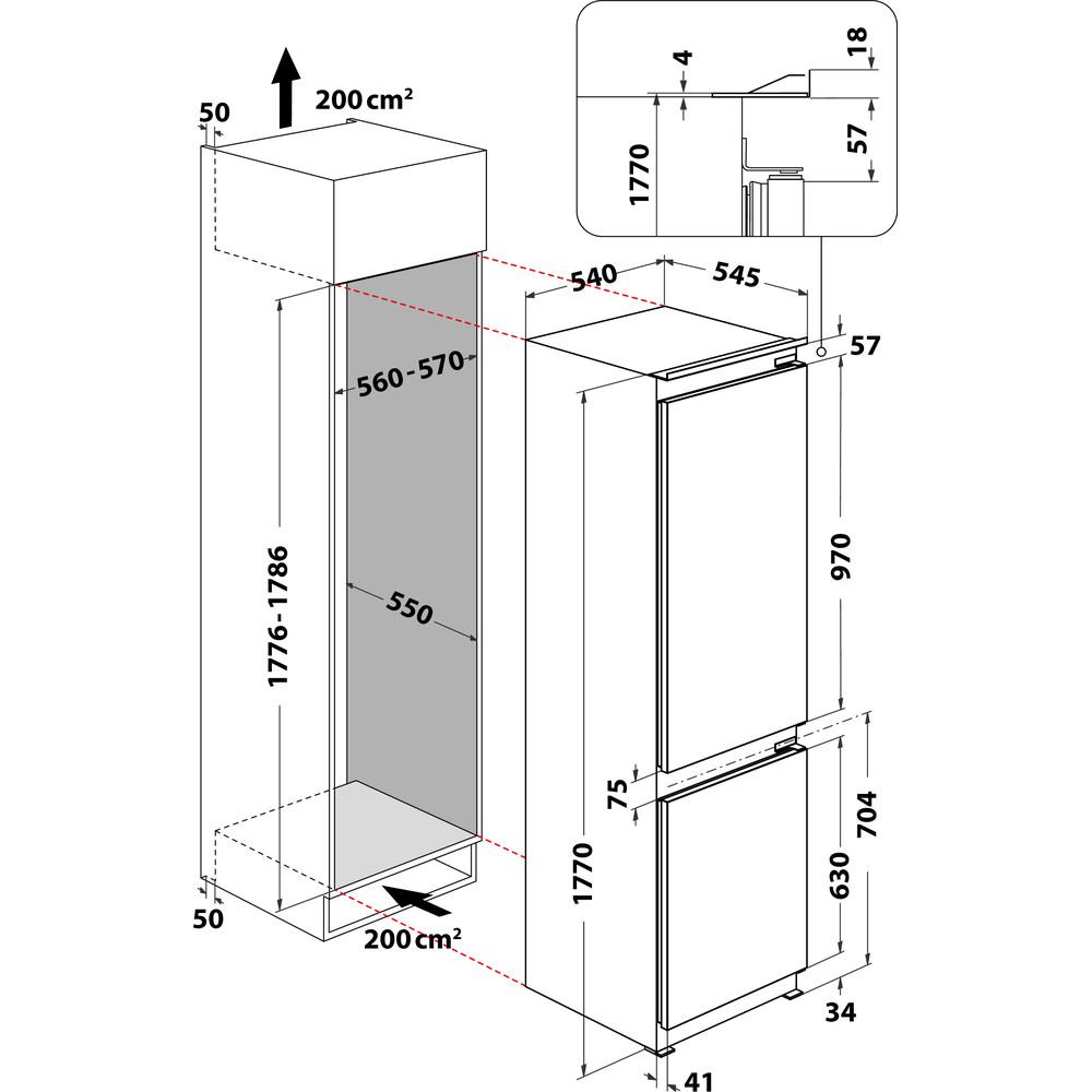 Indesit Køleskab/fryser kombination Indbygget B 18 A1 D/I 1 Hvid 2 doors Technical drawing