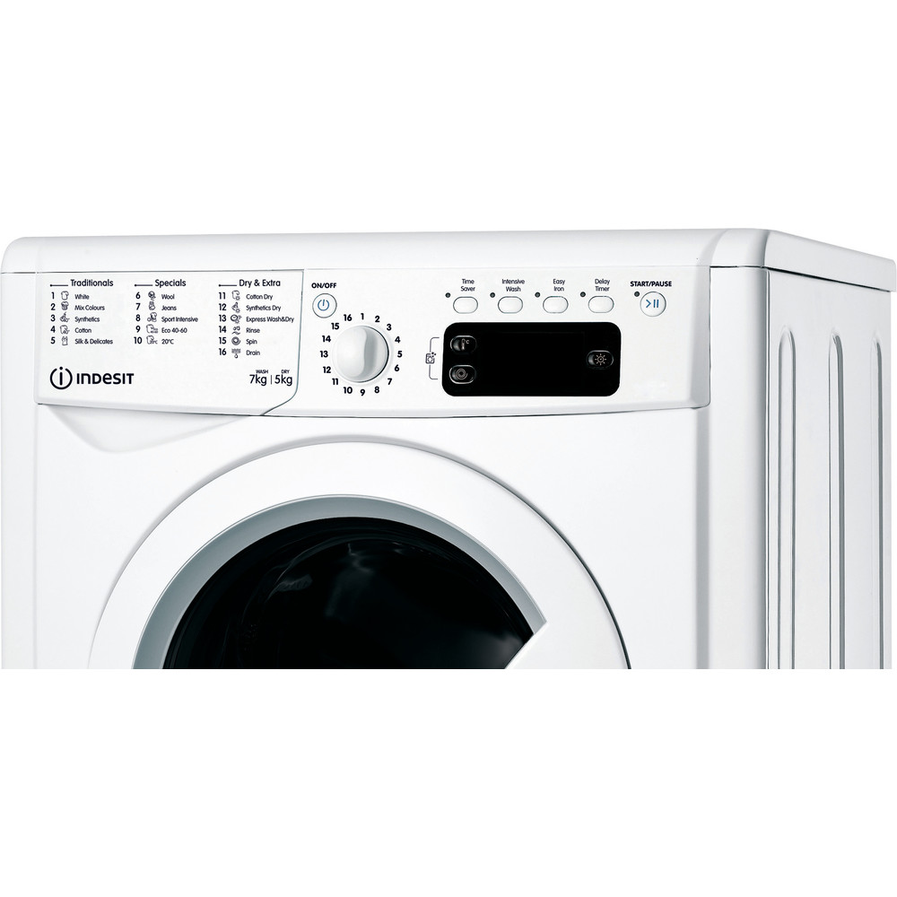 Indesit Washer dryer Free-standing IWDD 75145 UK N White Front loader Control panel