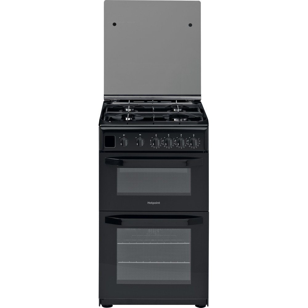Hotpoint Double Cooker HD5G00CCBK/UK Black A+ Enamelled Sheetmetal Frontal