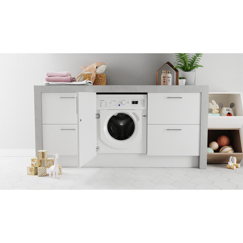 Indesit Máquina de lavar e secar roupa Encastre BI WDIL 861284 EU Branco Carga Frontal Lifestyle frontal