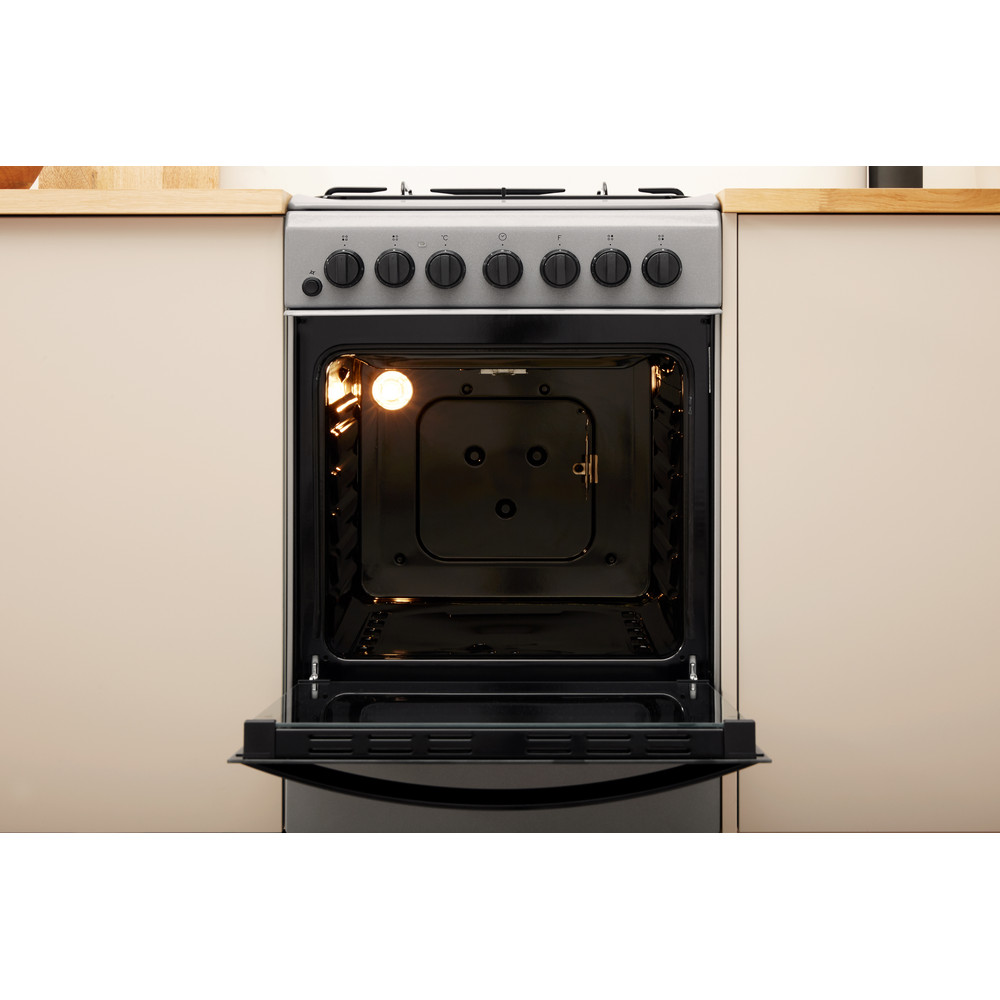 Indesit Cooker IS5G4PHSS/UK Inox GAS Lifestyle frontal open