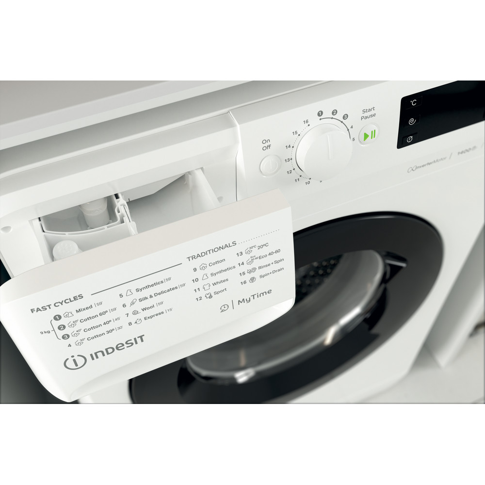 Indsit Maşină de spălat rufe Independent MTWE 91483 WK EE Alb Încărcare frontală A +++ Drawer