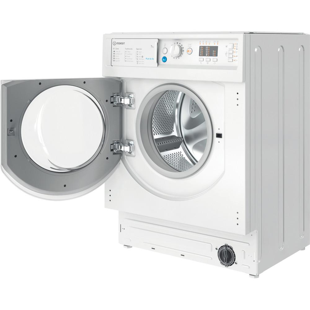 Indesit Washing machine Built-in BI WMIL 71252 UK N White Front loader E Perspective open
