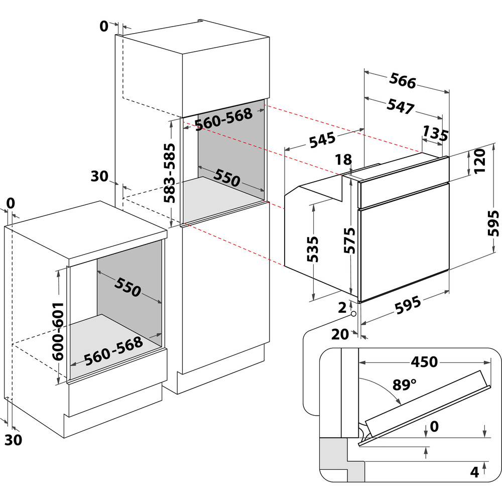Indesit Forno Da incasso IFV 230 IX Elettrico A Technical drawing