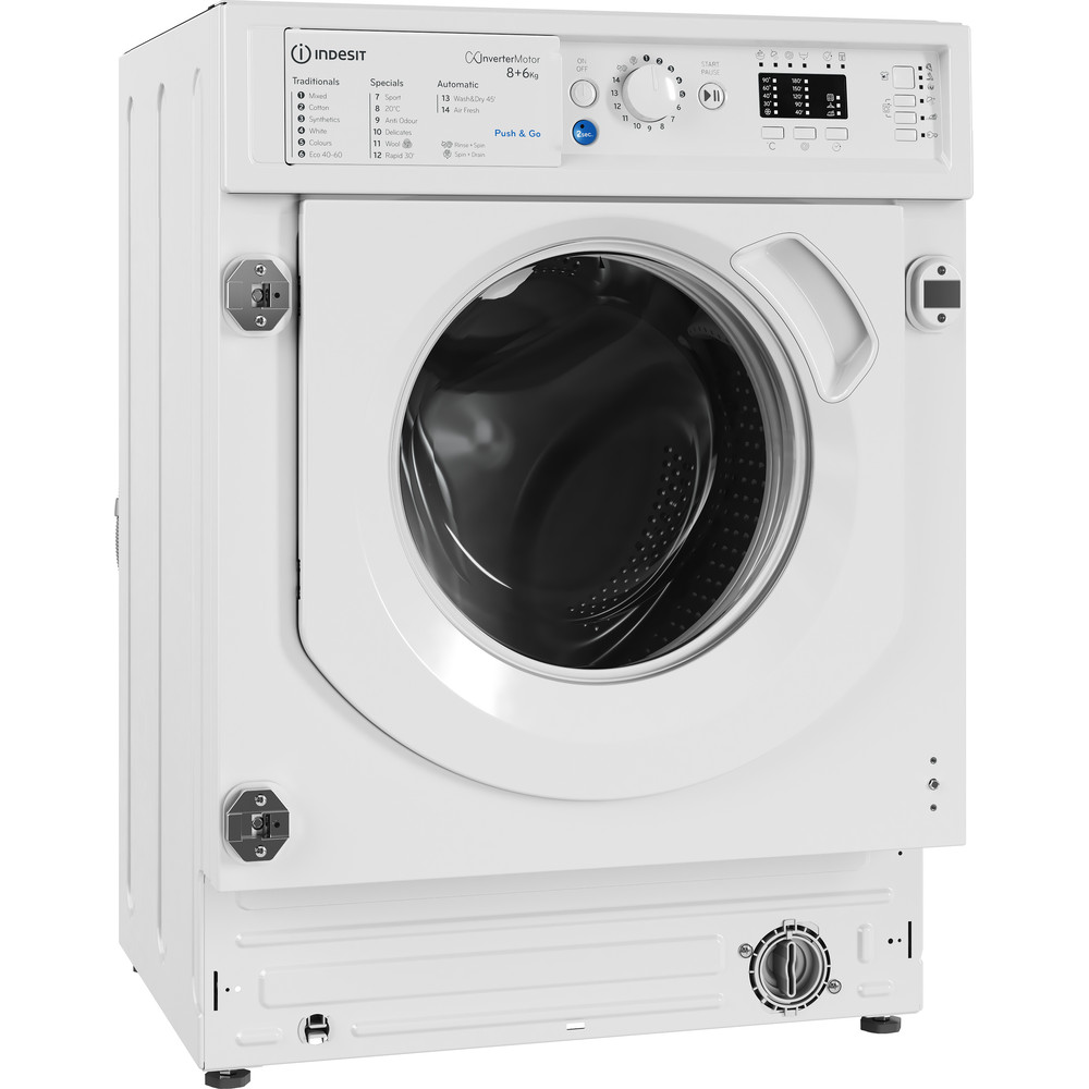 Indesit Washer dryer Built-in BI WDIL 861284 UK White Front loader Perspective