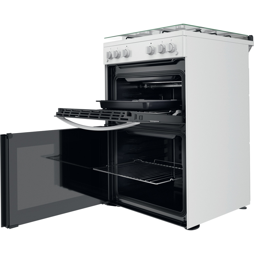 Indesit Double Cooker ID67G0MCW/UK White A+ Perspective open