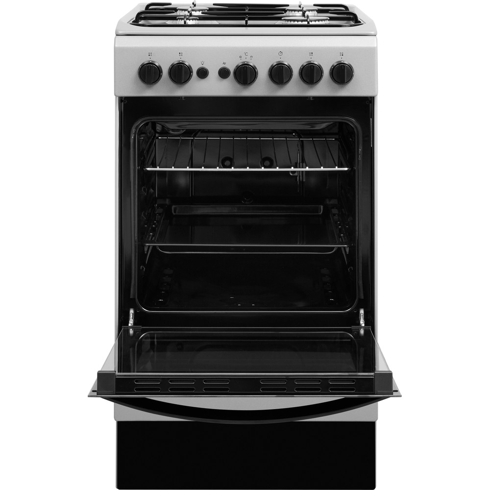Indesit Cooker IS5G1PMSS/UK Silver painted GAS Frontal open