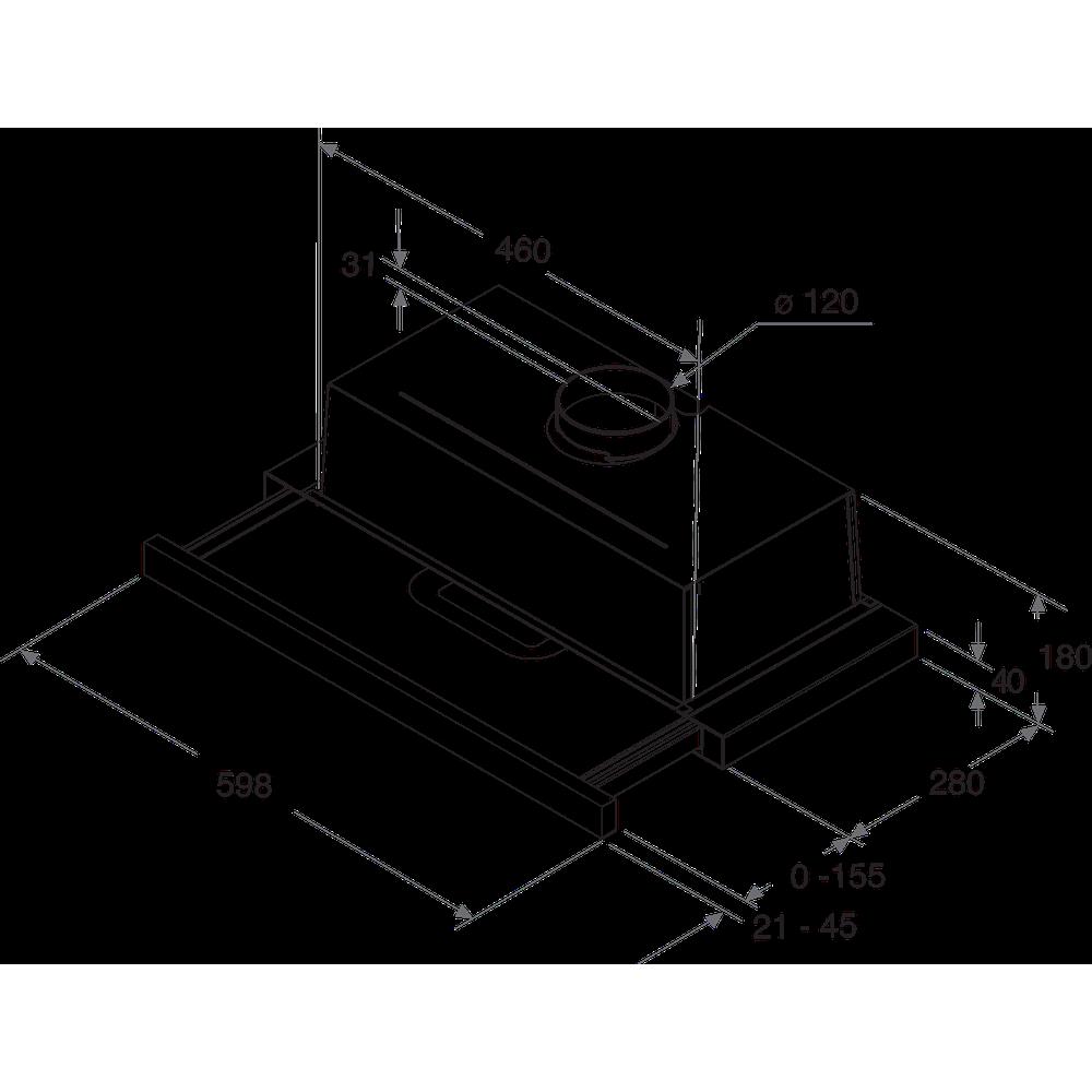 Indesit Odsávač pár/Digestor Vstavané H 461 IX.1 Nerezová Vstavané Mechanické Technical drawing