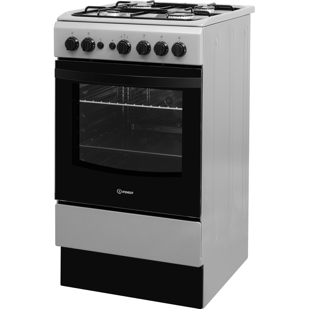 Indesit Cooker IS5G1PMSS/UK Silver painted GAS Perspective