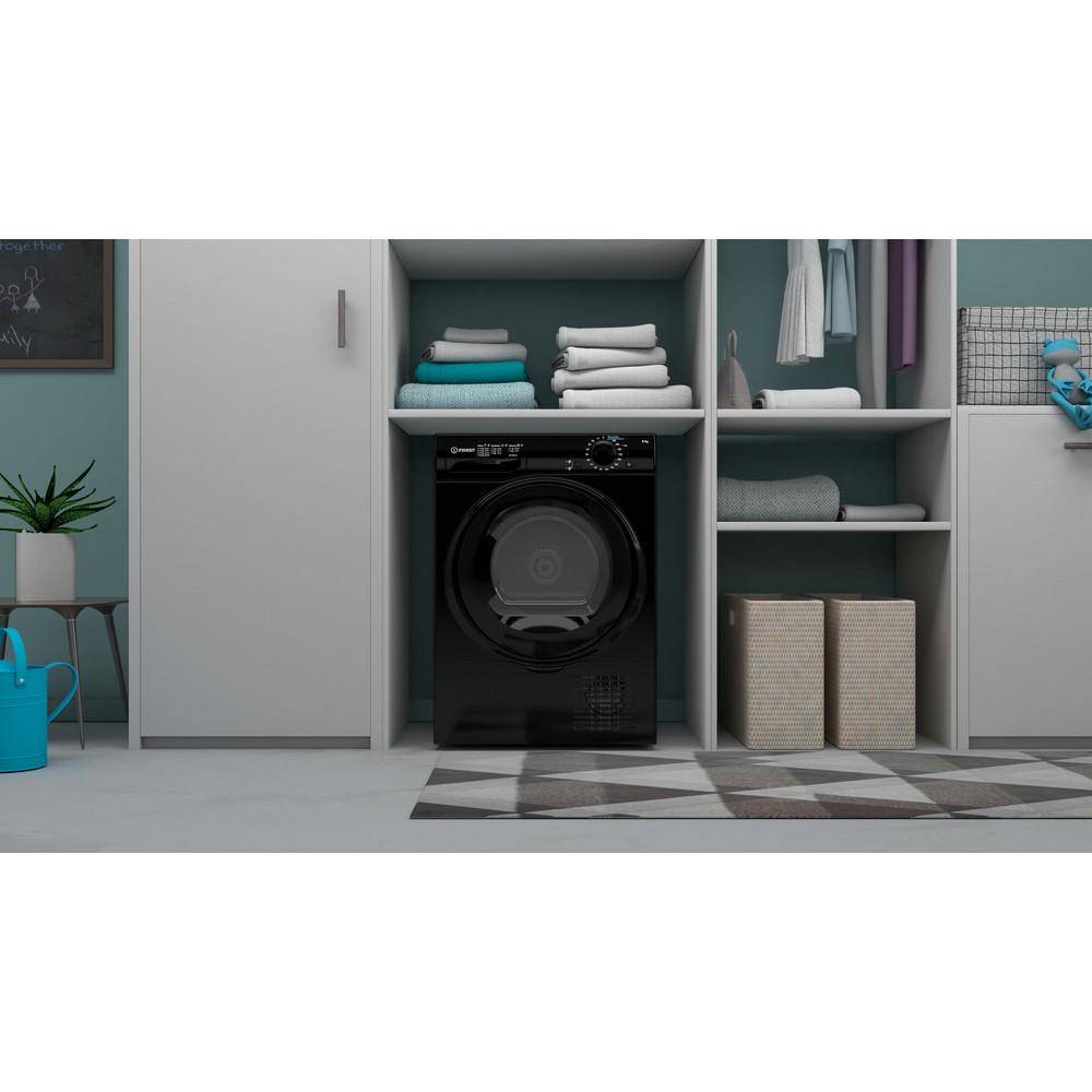 Indesit Dryer I2 D81B UK Black Lifestyle frontal