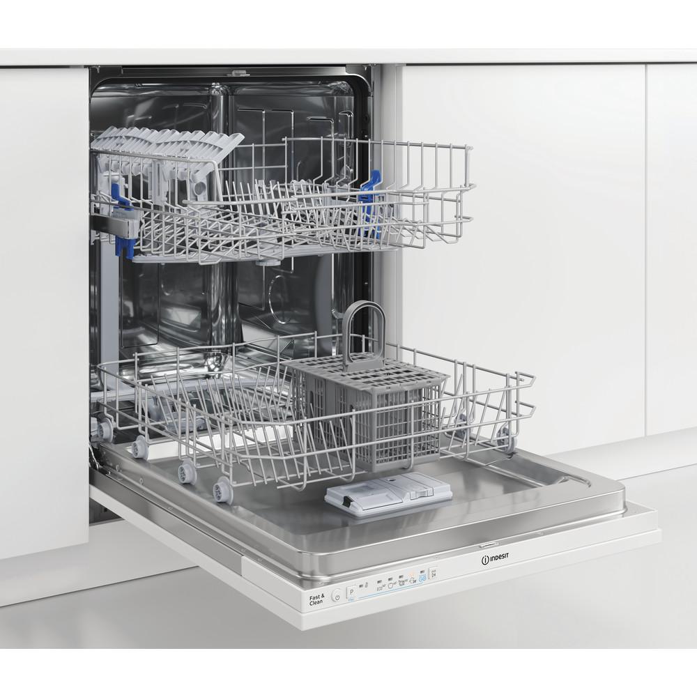 Indesit Vaatwasser Inbouw DIE 2B19 Volledig geïntegreerd F Perspective open