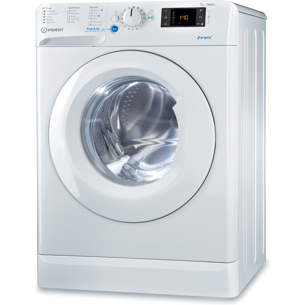 Indesit Washing machine Free-standing BWE 71452 W UK N White Front loader A+++ Perspective
