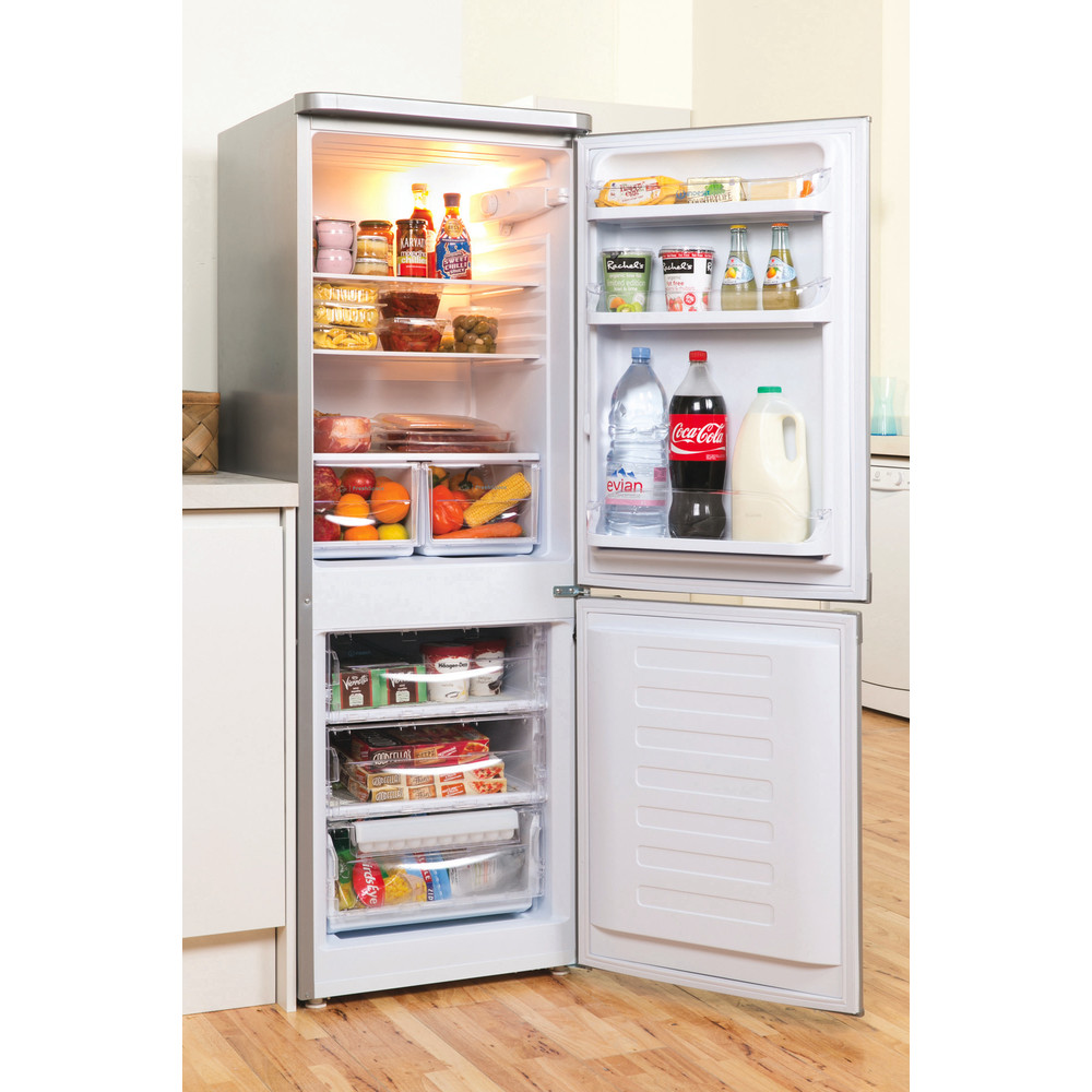 Indesit Fridge Freezer Free-standing IBD 5515 S 1 Silver 2 doors Lifestyle perspective open