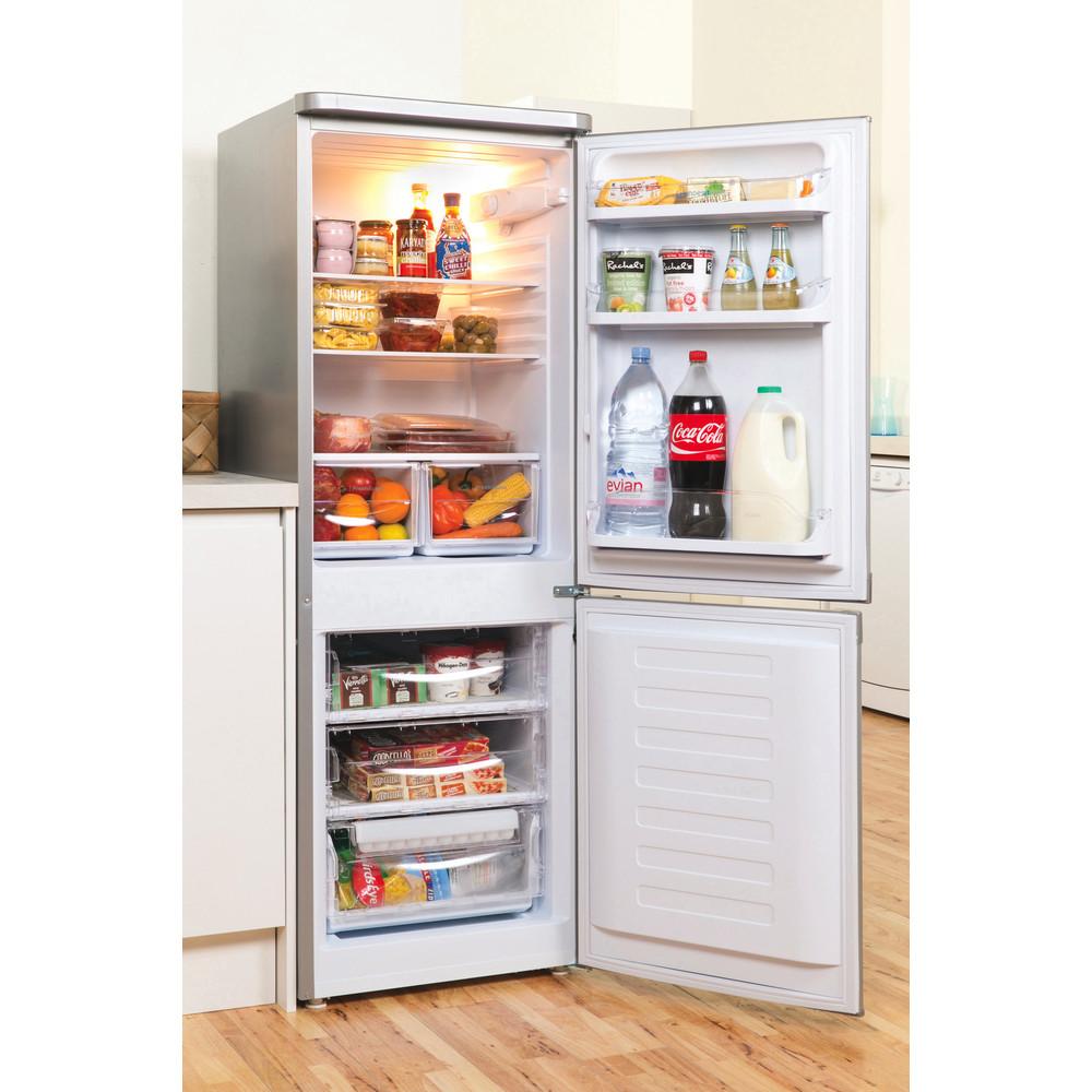 Indesit Комбиниран хладилник с камера Свободностоящи NCAA 55 NX Инокс 2 врати Lifestyle perspective open
