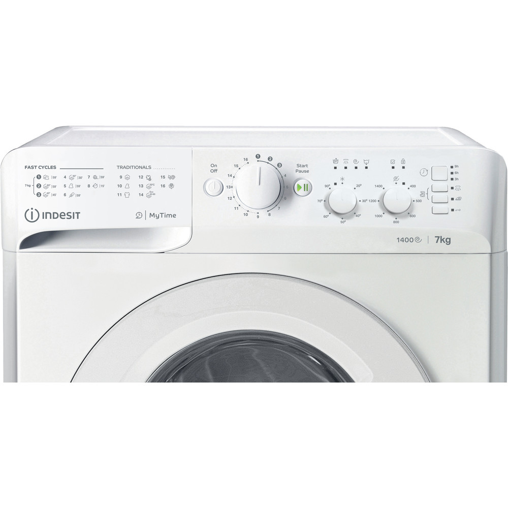 Indesit Vaskemaskine Fritstående MTWC 71452 W EU Hvid Frontbetjent E Control panel